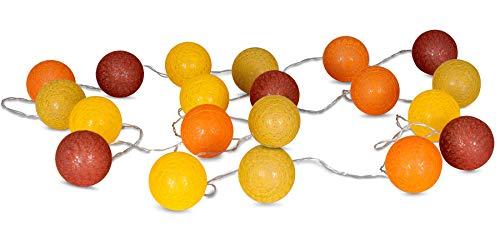 levandeo 20er Lichterkette LED Kugeln Lampions Baumwolle Gelb Orange Rot Braun Cotton Girlande Deko Cottonballs