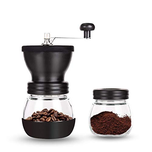 PARACITY Manual Coffee Bean Grinder, Hand Coffee Mill with 2 Glass Jars Ceramic Burr Stainless Steel Handle for Aeropress, Drip Coffee, Espresso, French Press, Turkish Brew