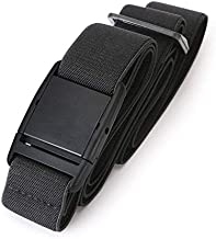 No Show Women Stretch Belt Invisible Elastic Web Strap Belt with Flat Buckle for Jeans Pants Dresses,Suit for US Size 0-16,1-Black