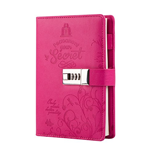 Lock Diary Secret Pu Leather Combination Lock Journal Cute Writing Notebook Refillable Personal Locking Diary for Girls Rose Red