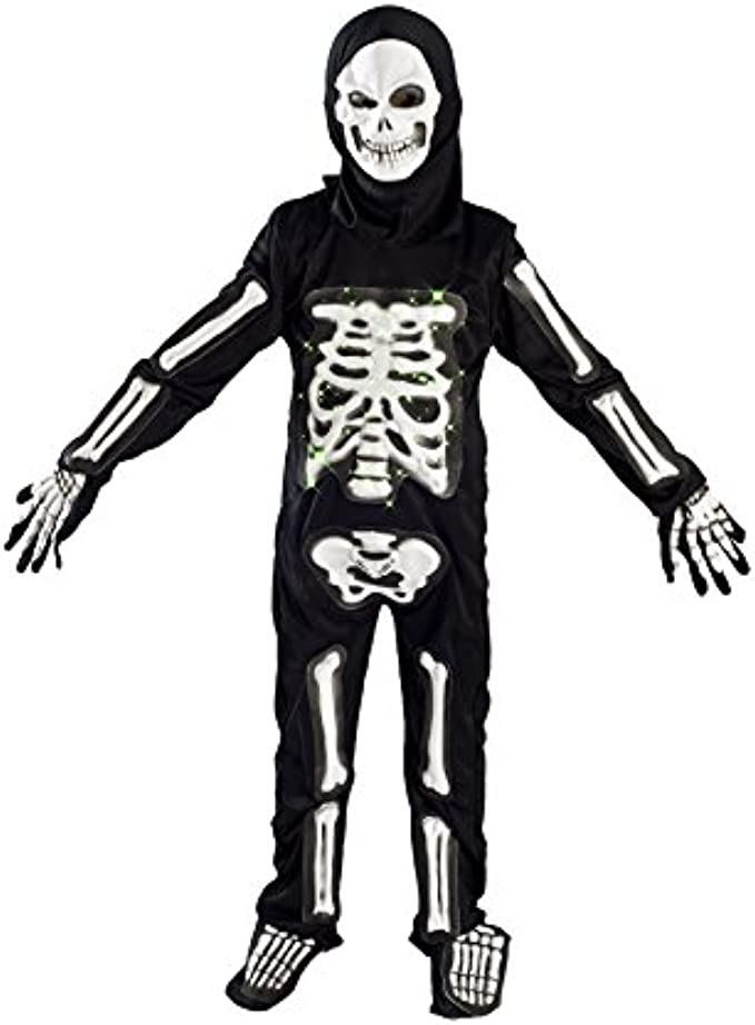 MONIKA FASHION WORLD Skeleton Costume for Boys Kids Light up Halloween Size M L (5-7) L (6-9) (L (7-9))