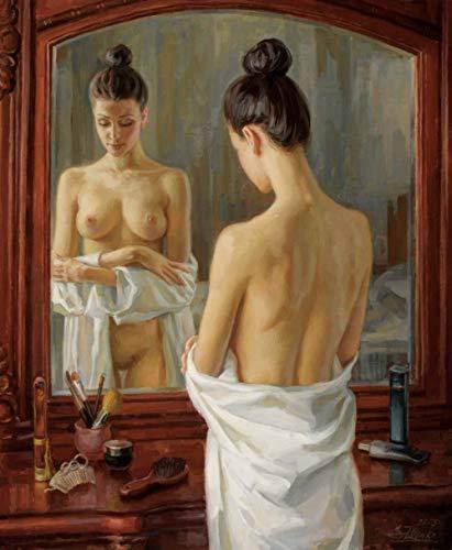 Pintura al óleo de bricolaje por kits de números, pintura al óleo de lienzo desnudo de chica sexy para adultos y dibujo principiante con pinceles