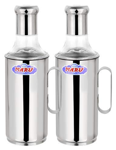 Maru Stainless Steel Nozzle Oil Dispenser Pot with Handle Set of 2 pcs (1000ml Each)