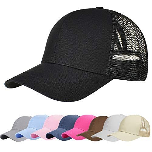 UMIPUBO Sombreros Gorra de Malla s Adjustable al Aire Libre Cap clásico Algodón Casual Sombrero Gorras de Béisbol para Hombre Mujer (Negro)