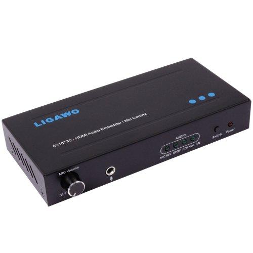 Ligawo 6518730 Audio Embedder met microfoon ondersteuning en volumeregeling (1080p, HDMI, 3D) incl. USB-stroomkabel (2 m) zwart