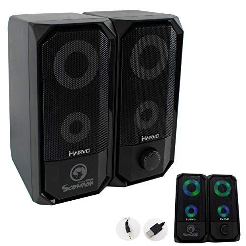 I-CHOOSE LIMITED SG-265 Schwarz mit RGB LED Stereo Gaming Lautsprechern für PC Computer | Marvo Scorpion | USB & 3,5 mm | 1,2 m Kabel | 7 Farben Beleuchtung