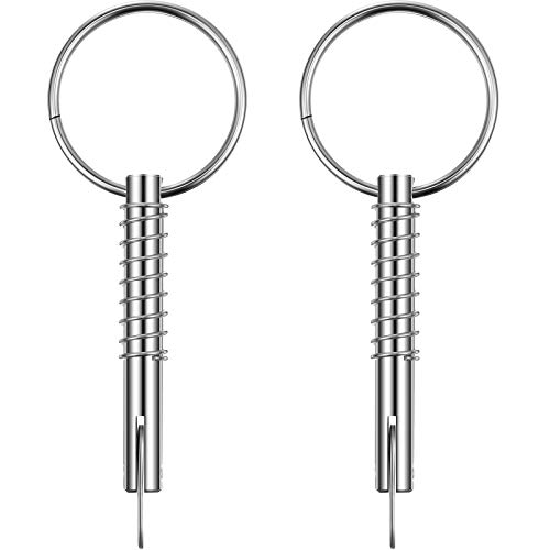Quick Release Pin 1/4 Inch (6.3 mm) in Diameter Full 316 Stainless Steel Bimini Top Pin, Marine Hardware (2, 2 Inch/ 51 mm)