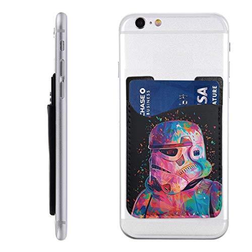 성급 전쟁 전화 카드 홀더를 가죽 실리콘 접착 스티 ID 신용 카드 전화 상자 지갑 주머니 소매 주머니와 호환되는 대부분의 스마트 폰(2 팩)
