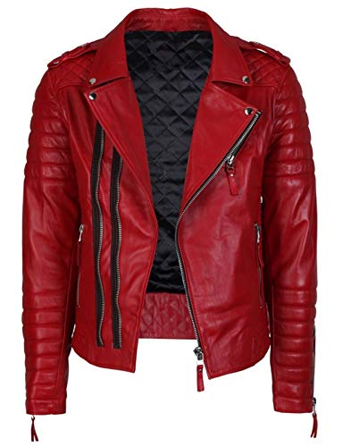New Fashion Style Mens Leather Jackets Motorcycle Bomber Biker Red Real Leather Jacket Men