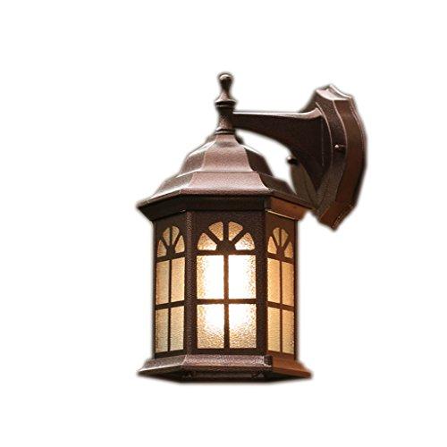 Verre octogonal de l'industrie du verre imperméable rétro lampe de mur extérieur 30 * 20cm (Couleur : Earthly gold)