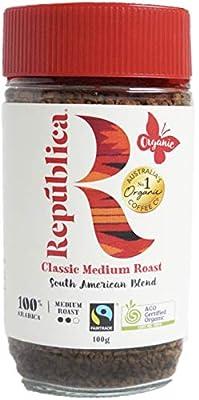 República Organic Instant Coffee, Café Instantáneo, South American Certified Organic, Fair Trade, Freeze Dried Instant Coffee - 100% Arabica, Medium Roast (100g/3.53oz Jar)