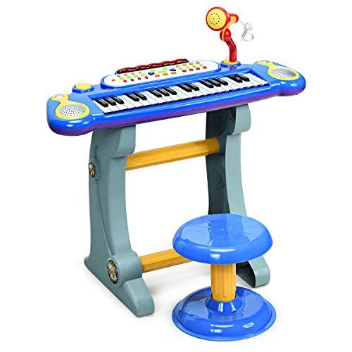 COSTWAY 37 Tasten Klaviertastatur mit Hocker, Kinder Keyboard mit Ständer, Klavier Spielzeug elektronisch, Musikinstrument mit Lichter, Aufnahme- und Abspiel-Funktion, inkl. Mikrofon (Blau)