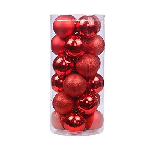 Bagattelle palle albero di Natale appeso ornamenti scintillio rosso per la decorazione della festa 24PCS