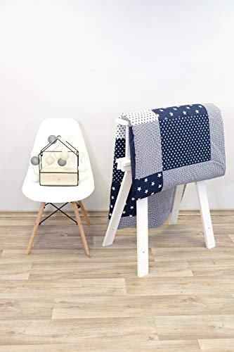 ULLENBOOM patchwork sprei kinderbed l katoenen deken voor baby's en peuters l zachte deken l 140 cm x 200 cm l blauwe sterren