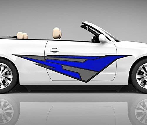 2x Seitendekor 3D Autoaufkleber abstrakt blau Geo Figur Digitaldruck Seite Auto Tuning bunt Aufkleber Airbrush Racing Autofolie Car Wrapping Tribal Seitentribal CW186, Größe Seiten LxB:ca. 160x40cm