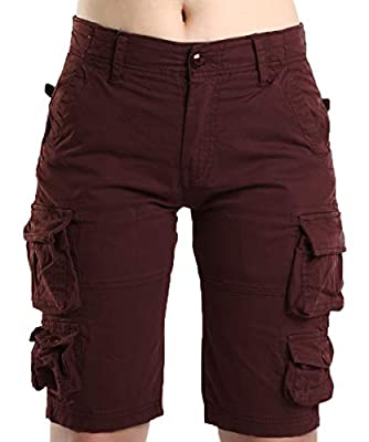 Women's Stretchy Fitted Cotton Distressed Multi-Pockets Cargo Military Tactical Outdoor Hiking Working Bermuda Shorts Ruby US 6