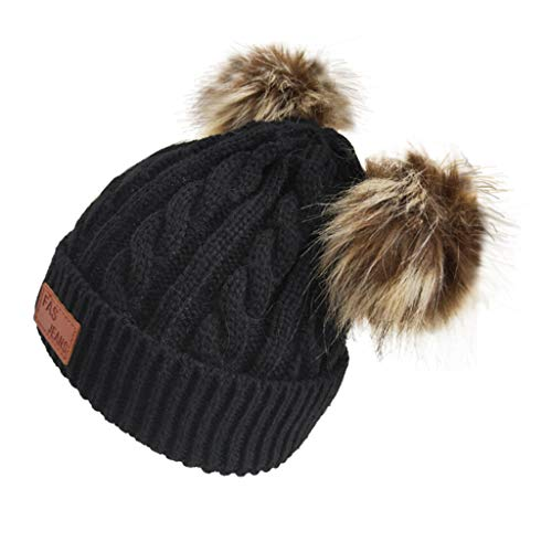 MORECON Double Ball Children's Wool Hat Twist Wool Ball Baby Knitted Cap Elasticity (Black)