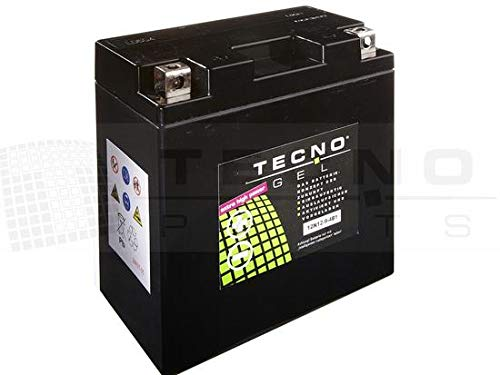 TECNO-GEL Motorrad-Batterie YB9-B = 12N9-4B1, 12V Gel-Batterie 9Ah (DIN 50914), 135x75x139 mm inkl. Pfand