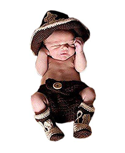Shinystar Baby Handmade Crochet Knit Cowboy Hat Boots Photography Prop Costume Set (Style 4) Medium