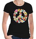 buXsbaum Damen Girlie T-Shirt Peace Flower Symbol   Frieden   XXL, Schwarz