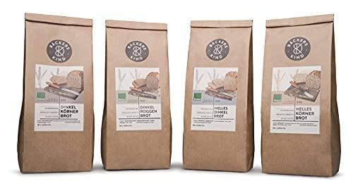BÄCKERSKIND 4er Pack Bio Brotbackmischungen Probierpaket, Brotbackmischung zum Backen für den Backofen oder Brotbackautomat, Regionales Mehl für Brot, Brotmischung Made in Germany
