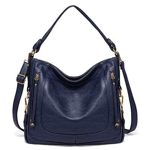 Kasgo Handtasche Damen, Lederimitat Umhängetasche Designer Taschen Elegant Hobo Bag Groß Schultertasche Henkeltasche Frau mit Abnehmbarem Schultergurt Blau