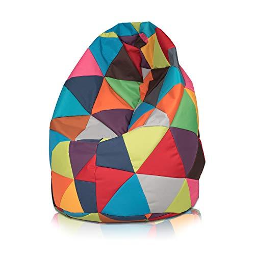 Ecopuf Sitzsack L Patchwork - Outdoor und Indoor Polyester Bean-Bag mit Anti-Verlust Reißverschluss
