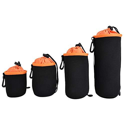 Topiky cameralens tas, 4 stuks neopreen waterdicht verdikt zacht objectief beschermhoes tas met haak, anti-shock, anti-stof, voor DSLR cameralens