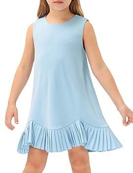 GRACE KARIN Girl s Sleeveless Dresses Round Neck Pleated Hem Solid Color Casual T-Shirt Dress Light Blue