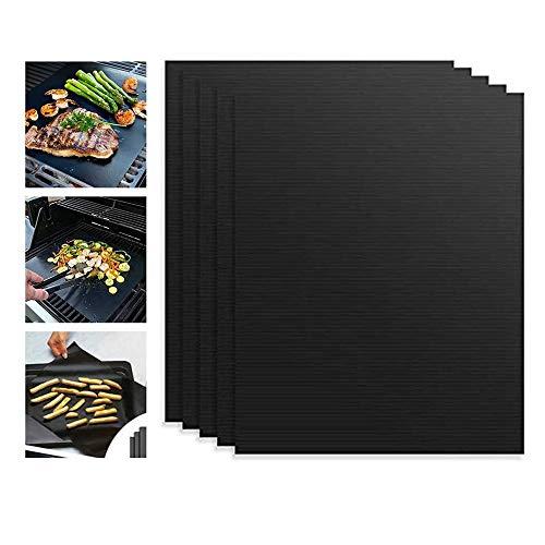 DangKe BBQ Grillmatte (5er Set), hochwertige und Wiederverwendbare Grillmatte, Zum Grillen und Backen,Extra Groß Zum 50 x 40 cm Antihaft Grill-und Backmatte Schwarz