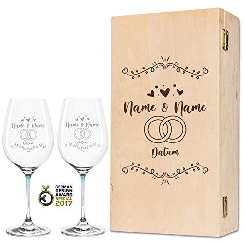 Leonardo La Perla - Copas de vino con diseño exclusivo para bodas, regalo personalizado para la pareja de novios, regalo de boda, color azul