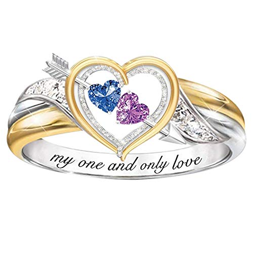BATKKM Fashion Crystal Love Ring Women Wedding Engagement Party Jewelry for Lovers Bridal Gifts Size 6-10