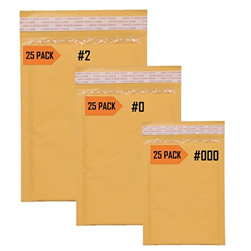 Sales4Less Kraft Bubble Mailers #2 8.5X12 25 Pack, #0 6X10 25 Pack, #000 4X8 25 Pack Padded Envelope Mailer Variety Pack