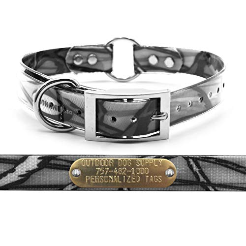 "Outdoor Dog Supply 1"" Wide Pattern Ring in Center Dog Collar Strap with Custom Brass Name Plate (21"" Long, Gray Camo)"