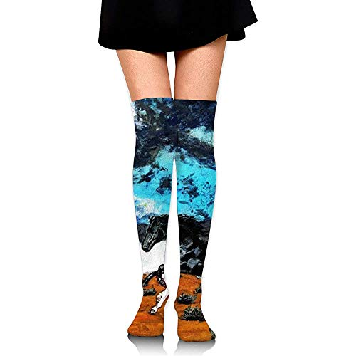 Not applicable zwart-wit paard aquarel compressiekousen creatieve mooie sokken voor sport wandelen fietsen, 65cm