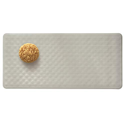 Price comparison product image iDesign Chelsea Bath Mat,  Rectangular Non Slip Mat Made from Rubber for Bathroom Floors and Shower Cubicles,  Grey
