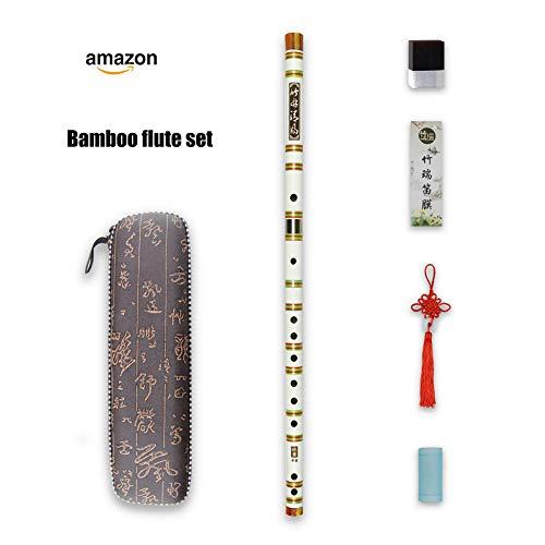 D key Dizi Weiß Bitter Bambusflöte Regenbogen Befestigungsband mit freier Membrane & Kleber & Schutz Set Traditionelles chinesisches Instrument (D key/Bitter Bambus Weiß + Regenbogen)
