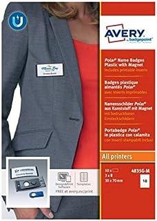 AVERY - Boite de 10 badges magnétiques type Polar gris anthracite avec aimant puissant, Format 30 x 65 mm