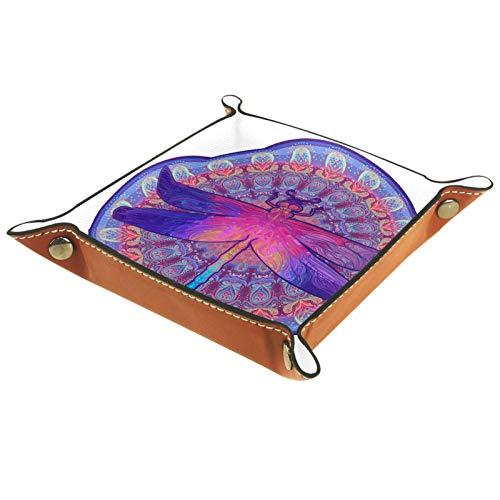 LynnsGraceland Bandeja de Cuero - Organizador - Círculos de Colores e Insectos - Práctica Caja de Almacenamiento para Carteras,Relojes,Llaves,Monedas,Teléfonos Celulares y Equipos de Oficina