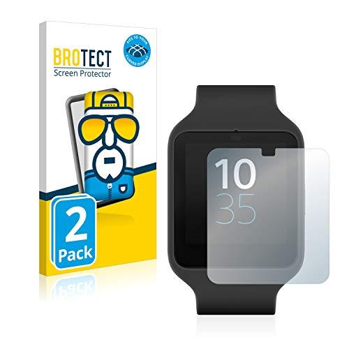 BROTECT Full-Cover Schutzfolie kompatibel mit Sony Smartwatch 3 SWR50 (2 Stück) - Full-Screen Bildschirmschutz-Folie, 3D Curved, Kristall-Klar