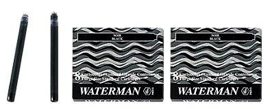 Waterman S0110850 - 2 Etuis mit 8 Großraum-Tintenpatronen schwarz, Tinte löschbar (2er Pack schwarz)