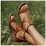New 2021 Women's Platform Sandals T-Strap Block Heel Sandals Heeled Ankle Wedge Ankle Strap Open Toe Sandals,with Zipper Vintage Beach Sandals Ladies Walking Shoes,Plus Size 34-43Brown-EUR 36/USA 5