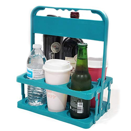 Double Bear Drink Carriers With Handle, Portable Beer Caddy, Wine Carrier, 6 Cup Reusable Cup Holder Carrier
