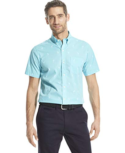 IZOD Men's Breeze Short Sleeve Button Down Patterned Shirt, Blue Radiance, X-Large