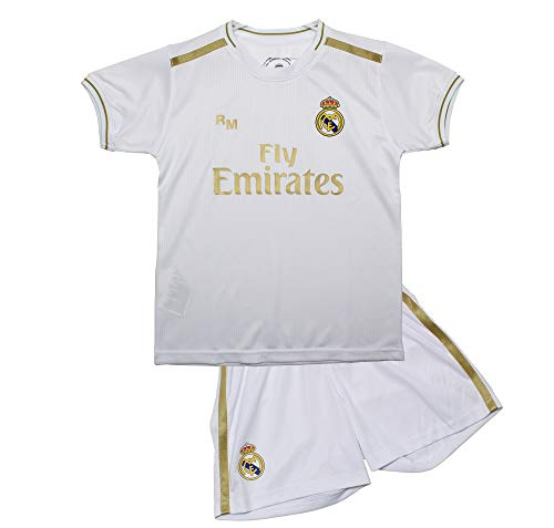 Real Madrid Conjunto Camiseta y Pantalón Primera Equipación Infantil Producto Oficial Licenciado Temporada 2019-2020 Color Blanco Sin Dorsal (Blanco, Talla 10)