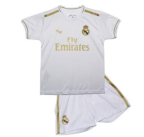 Real Madrid Conjunto Camiseta y Pantalón Primera Equipación Infantil Producto Oficial Licenciado Temporada 2019-2020 Color Blanco Sin Dorsal (Blanco, Talla 8)