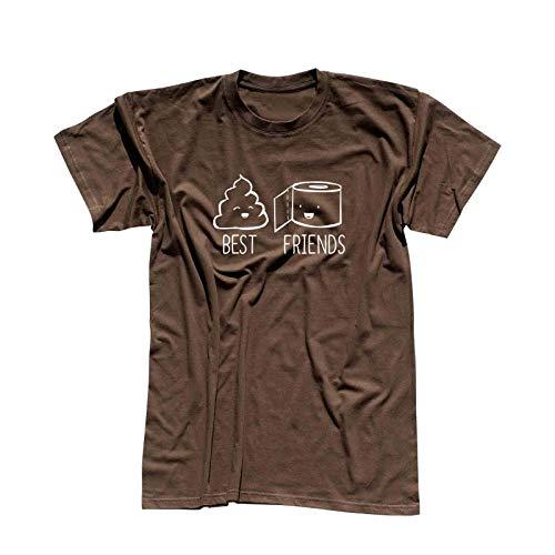T-Shirt Best Friends Scheiße und Klopapier Humor Spaß 13 Farben Herren XS - 5XL Fun-Shirt Witz lustige Sprüche feiern Party, Größe:L, Farbe:braun - Logo Weiss