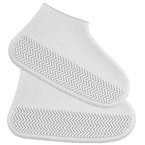 RETYLY Funda de Silicona para Botas Lluvia,Almohadilla de Algodón Impermeable,Antideslizante, Resistente al Desgaste,A,Bolsillo al Aire Libre,Funda Blanca para Zapatos de Tama?o S