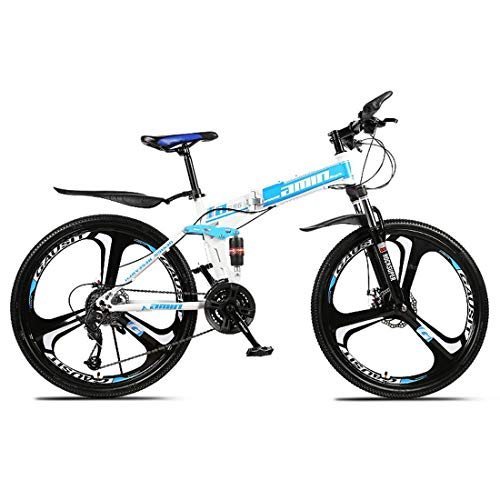 KEKEYANG Outdoor Outdoor Sports Folding Mountain Bike, 26 Inch, 27 Speed, Variable Speed, Double Disc Brakes, Shock Absorption, Offroad Bicycle, Adult Men Outdoor Riding,Yellow Bike (Color : Blue)