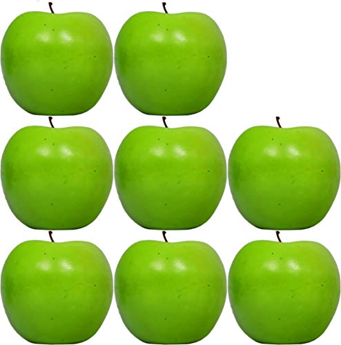 Set of 8 Decorative Life Size Faux Green Apples - Great for Decorating your Home, Creating a Store Display, and Photo Props - Realistically Colored and Sized Fruit - Measures 2.5